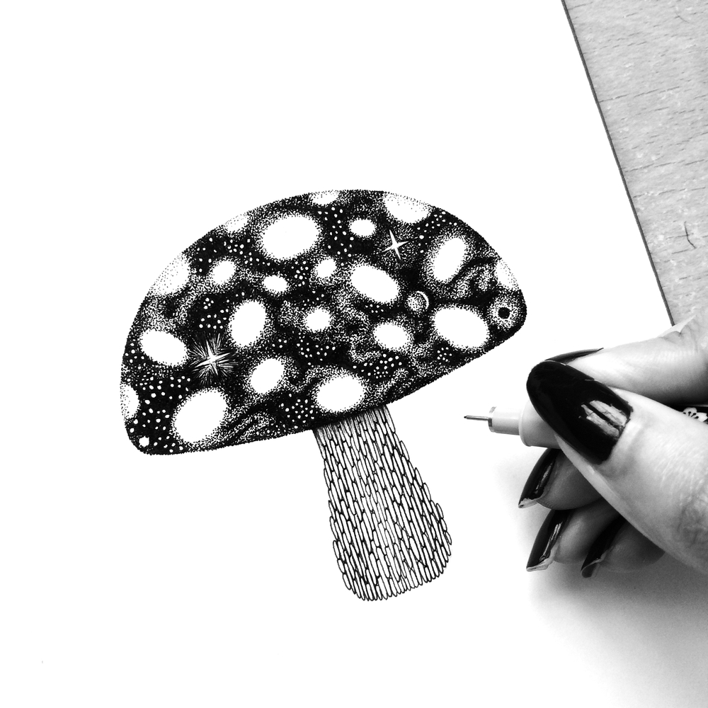 13-Spaced-Out-Mushroom-Pavneet-SembhiSelf-taught-Artist-Creates-Intricate-and-Detailed-Drawings-www-designstack-co