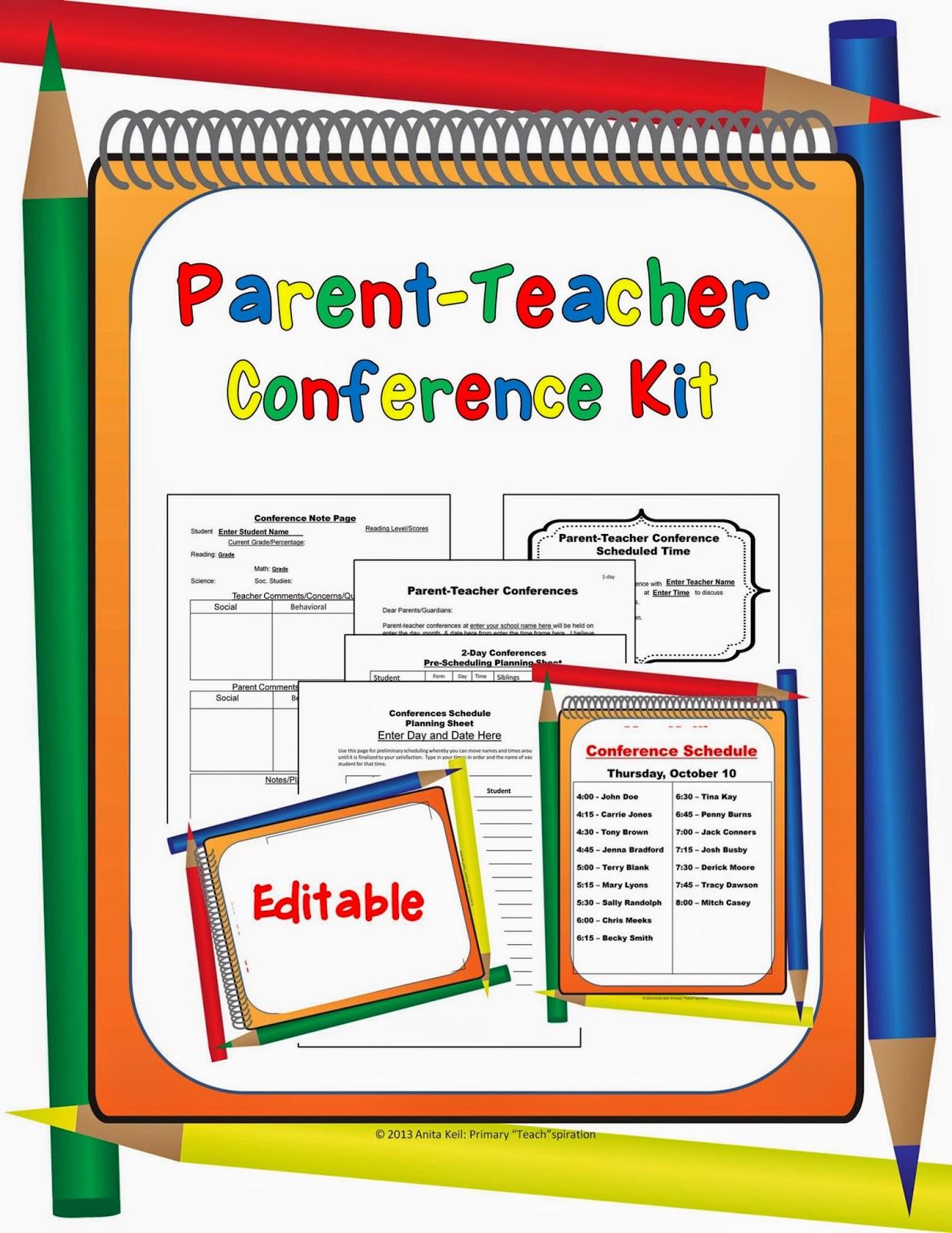 http://www.teacherspayteachers.com/Product/Parent-Teacher-Conference-Forms-Editable-900733