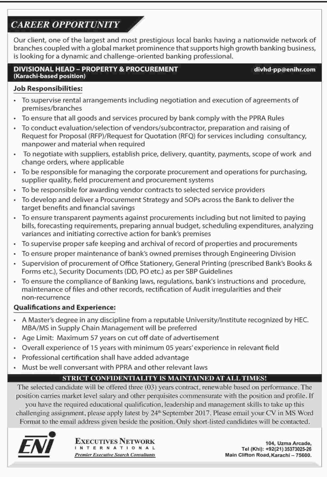 Jobs Executive Network International Karachi Sep 2017