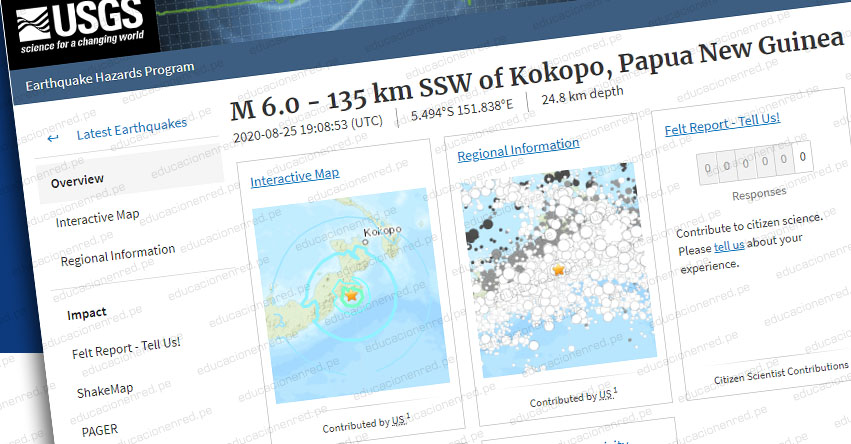 Terremoto en Papúa Nueva Guinea de Magnitud 6.0 - Alerta de Tsunami (Hoy Martes 25 Agosto 2020) Sismo - Temblor - Epicentro - Kokopo - USGS