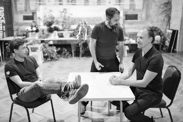 Shadwell Opera - Maxwell Davies: The Lighthouse - rehearsal with Paul Curievici, Owain Browne, Pauls Putnins (Photo © Nick Rutter)