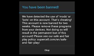 acount COC pengguna mod dan bot dibanned - artikel