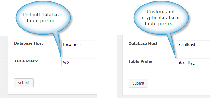 Custom WordPress database table prefix