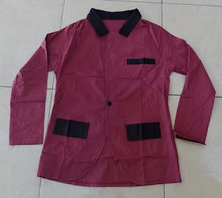 Jual Online Blazer Combi Maroon Murah Jakarta Bahan Katun Stretch Terbaru