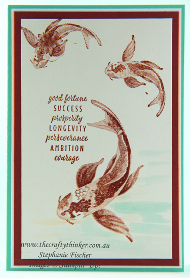 #thecraftythinker  #stampinup  #cardmaking  #allgoodthings  #distinktive  #rubberstamping , All Good Things, Koi, Distinktive stamps, easy card, Stampin' Up Australia Demonstrator, Stephanie Fischer, Sydney NSW