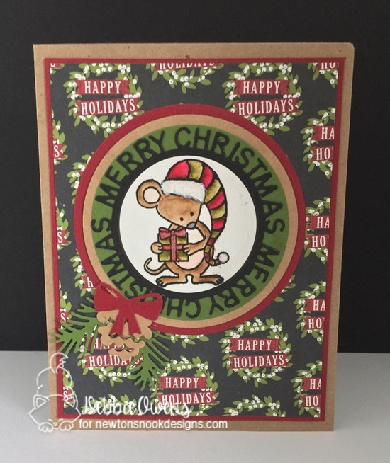 Merry Christmas by Debbie features Naughty or Mice and Pines and Holly dies by Newton's Nook Designs; #newtonsnook