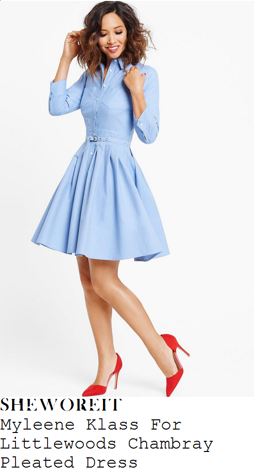 myleene-klass-pale-blue-collared-button-up-belted-pleated-chambray-shirt-dress