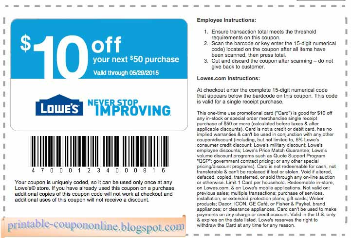 Lowes discount coupon 2018