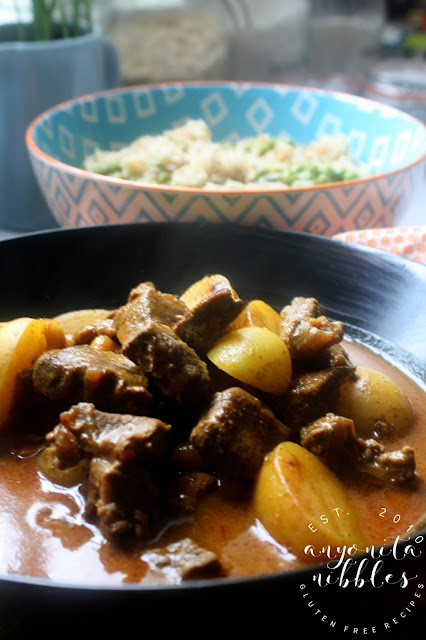 Succulent massaman curry with peanut butter, beef and potatoes