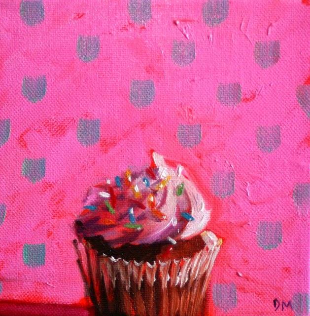 cupcake painting, frosting, pink, debbie miller