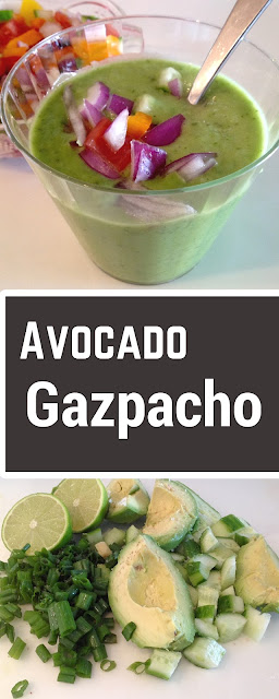 cup of avocado gazpacho and chopped veggies