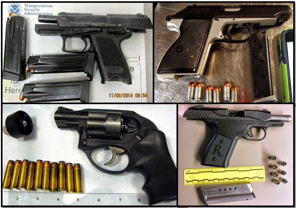 (Clockwise from top left corner) Firearms discovered at: RNO, SAN, IAH & BNA