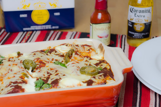 Spicy Mushroom Enchiladas and a cold beer!