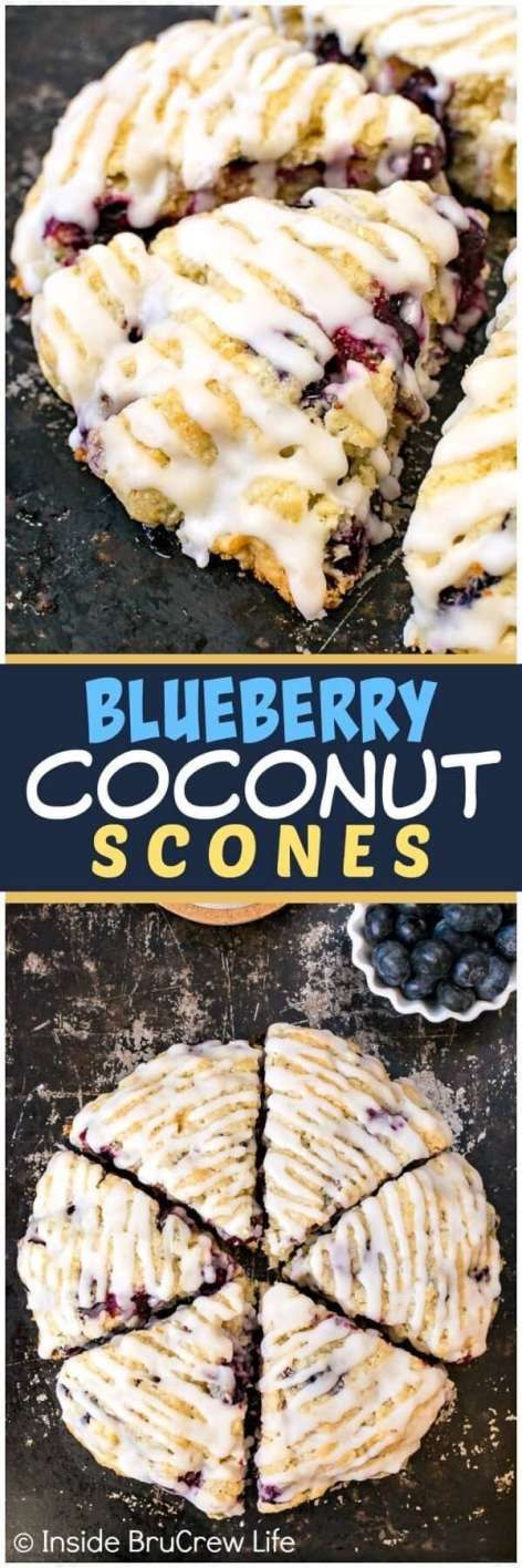 These easy Blueberry Coconut Scones are loaded with fresh berries and topped with a sweet coconut glaze. Easy breakfast pastries are a great way to jump start your morning routine.