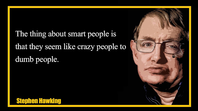 The thing about smart people is that they seem like crazy people to dumb people Stephen Hawking