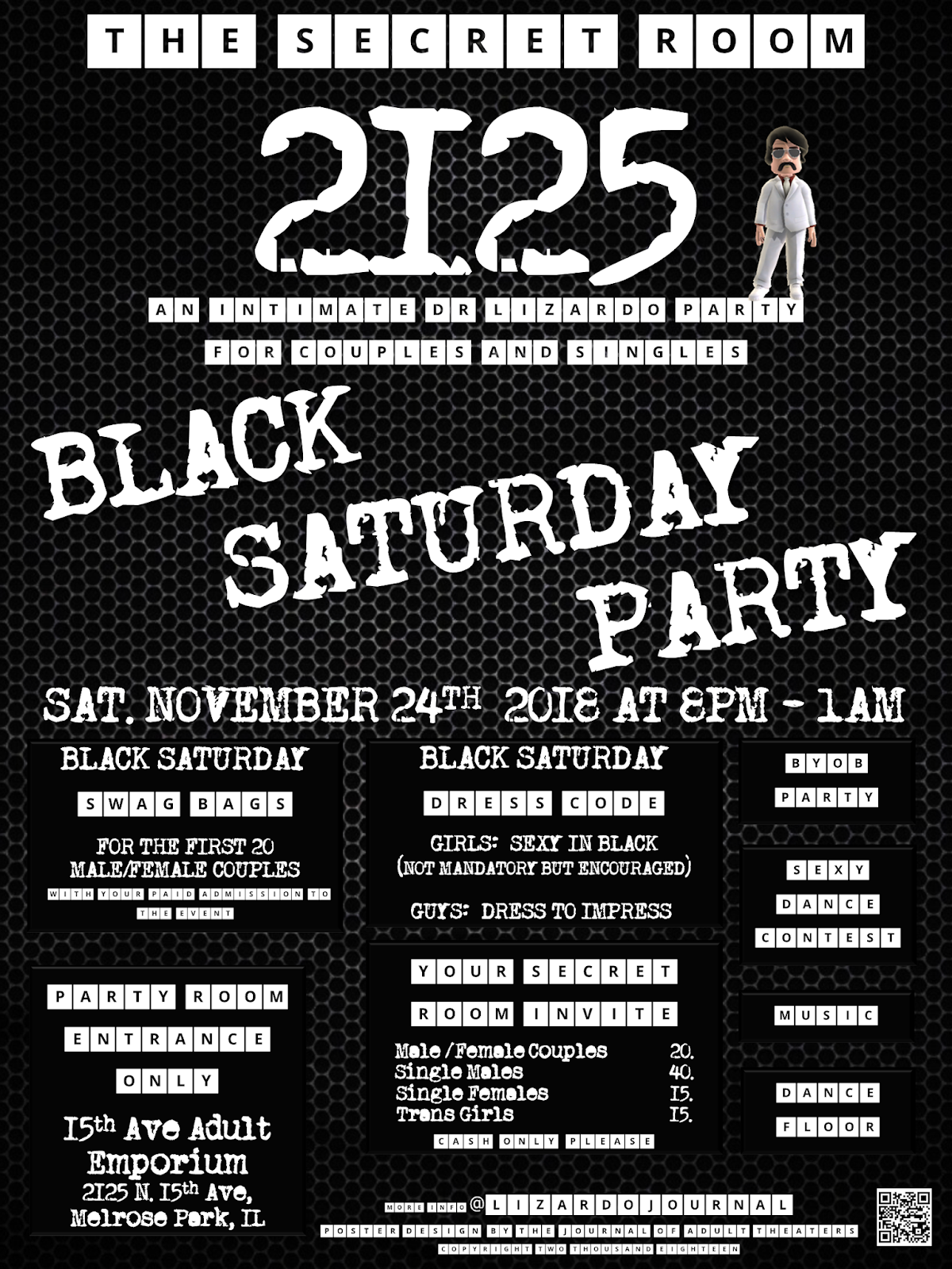 The Secret Room 2125: Black Saturday Party at 15th Ave. Adult Theater Party Room in Chicago!