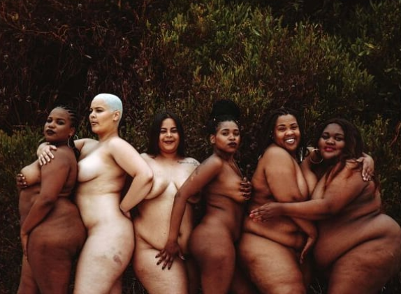 South African plus size women pose completely unclad in trending photoshoot