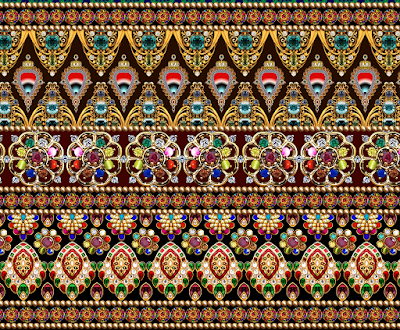 Digital border design for textile 698