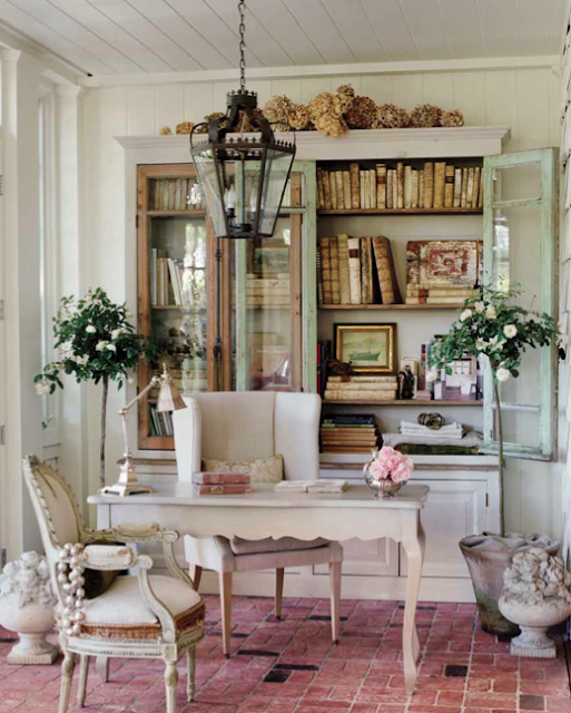 For my Ikea Billy Bookcase hack, I was inspired by this beautiful antique French bookcase from Brooke Giannetti's office.