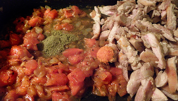 Sauteed Persimmons with chicken strips, orange zest, and poultry seasoning