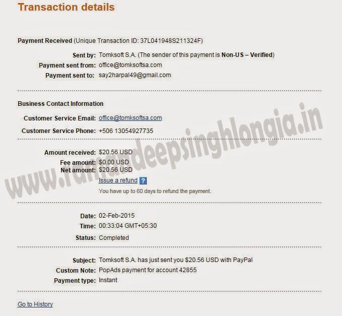 Popads.net payment proofs january 2015