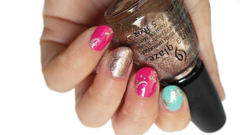 Manicura fácil en turquesa y rosa - Toxic Vanity