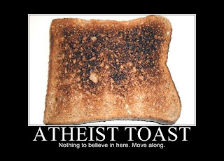 Funny cartoon - Atheist toast - nothing to believe in here - move along