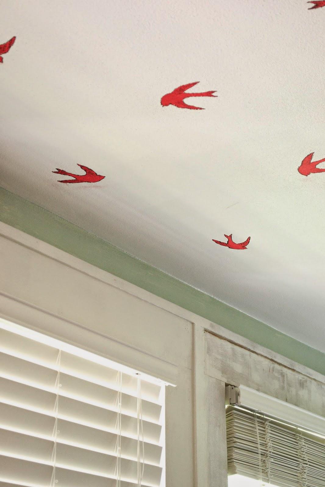 Birds%2Bon%2BCeiling5 Paint Stencil Designs Bird House on rose vine tattoo stencils, small bird stencils, flower and vine stencils, floor cloth stencils,