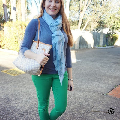 awayfromtheblue instagram | blue and green skinny jeans wrap top neverfull and tree print scarf outfit