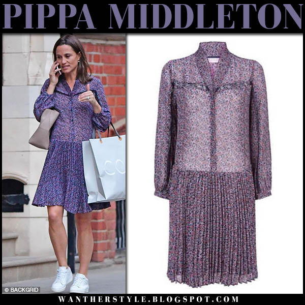 Pippa Middleton in purple paisley print mini dress claudie pierlot baby bump maternity fashion october 6