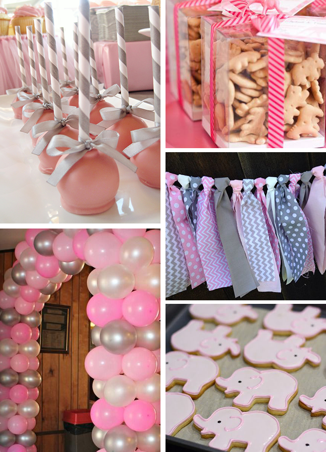 Inspirations pink and gray elephant baby shower sweet for Baby mobile pink and grey