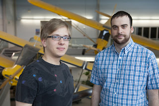 Felix Lesser (left), from Germany, and Brian Peterson, from UAA, took advantage of the aviation exchange to study at each others universities. (Photo by Philip Hall / University of Alaska Anchorage)
