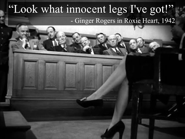 Ginger Rogers in Roxie Heart, 1942. Photo of men on the jury admiring Ginger's legs. 'Look what innocent legs I've got!' Court Humor. Judgment. marchmatorn.com