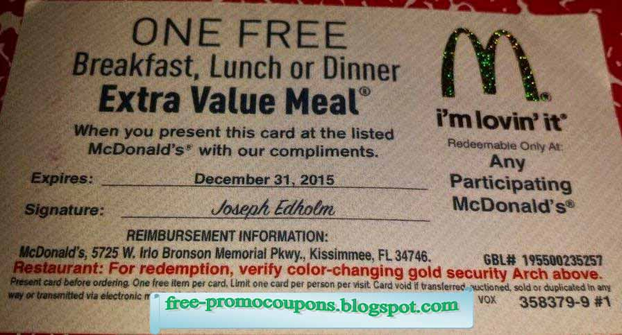 Free printable mcdonalds coupons july 2018