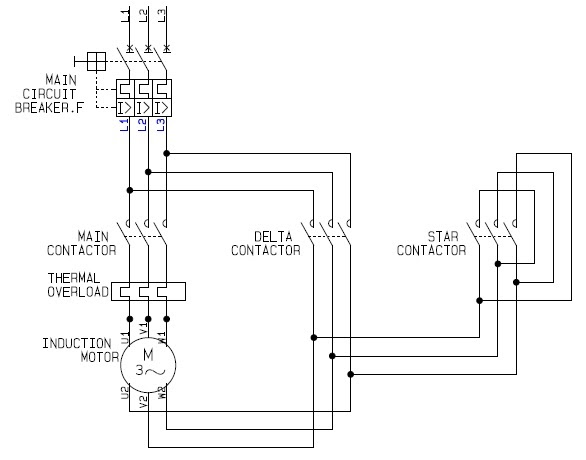 Power Circuit of a Star Delta or Wye Delta Electric Motor