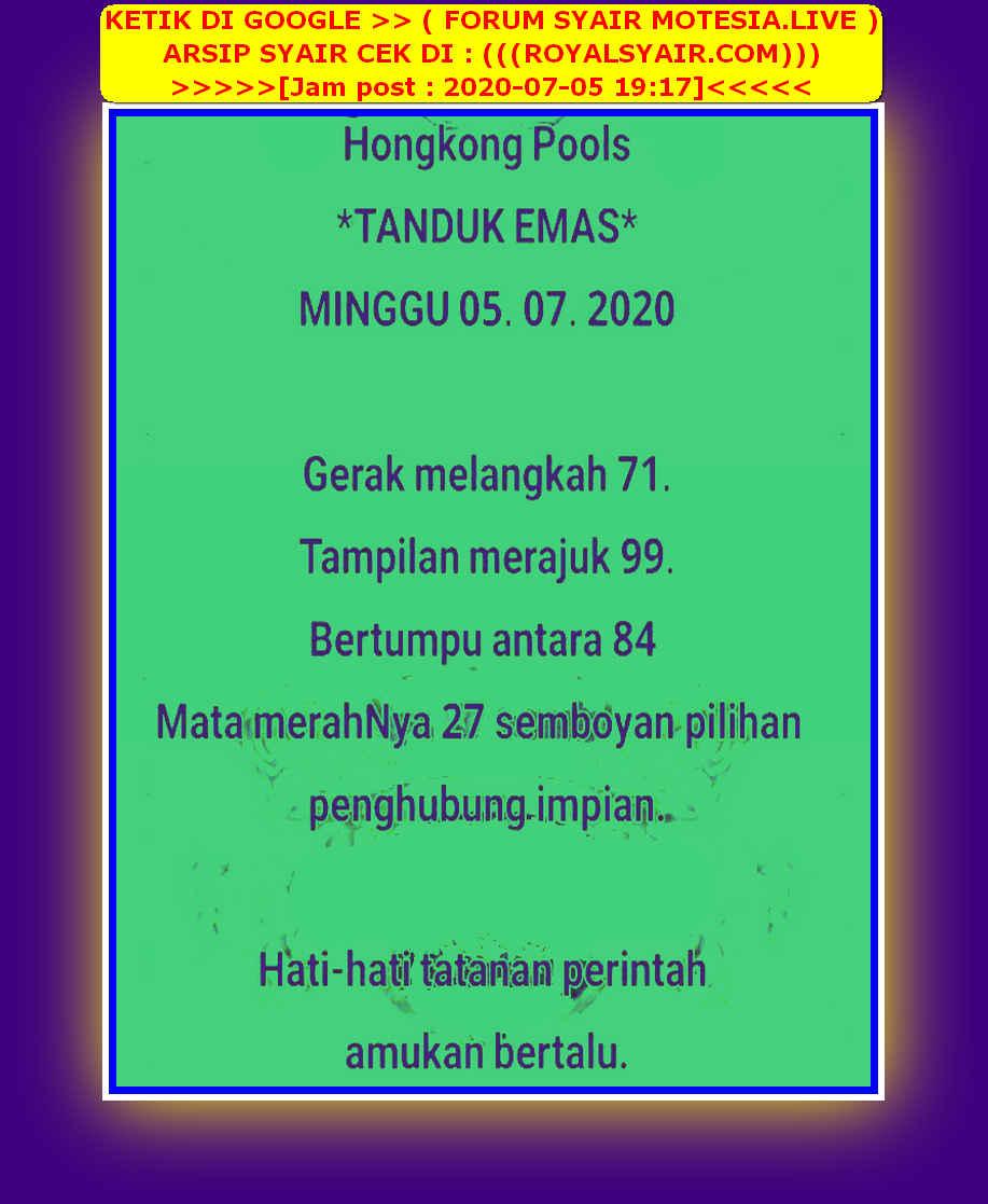Kode syair Hongkong Minggu 5 Juli 2020 24