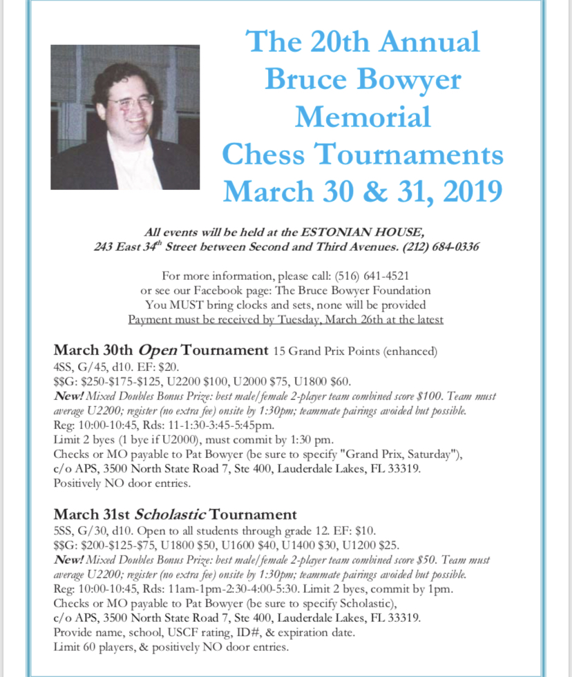 20th Bruce Bowyer Memorial Tournament, March 30-31, 2019