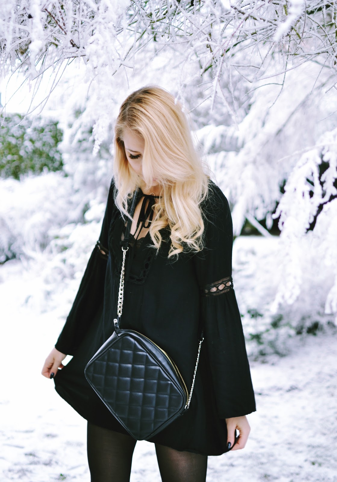 Tobi black boho dress blogger
