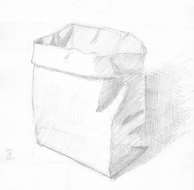 Daily Art 12-18-17 still life sketch in graphite number 75 - paper bag