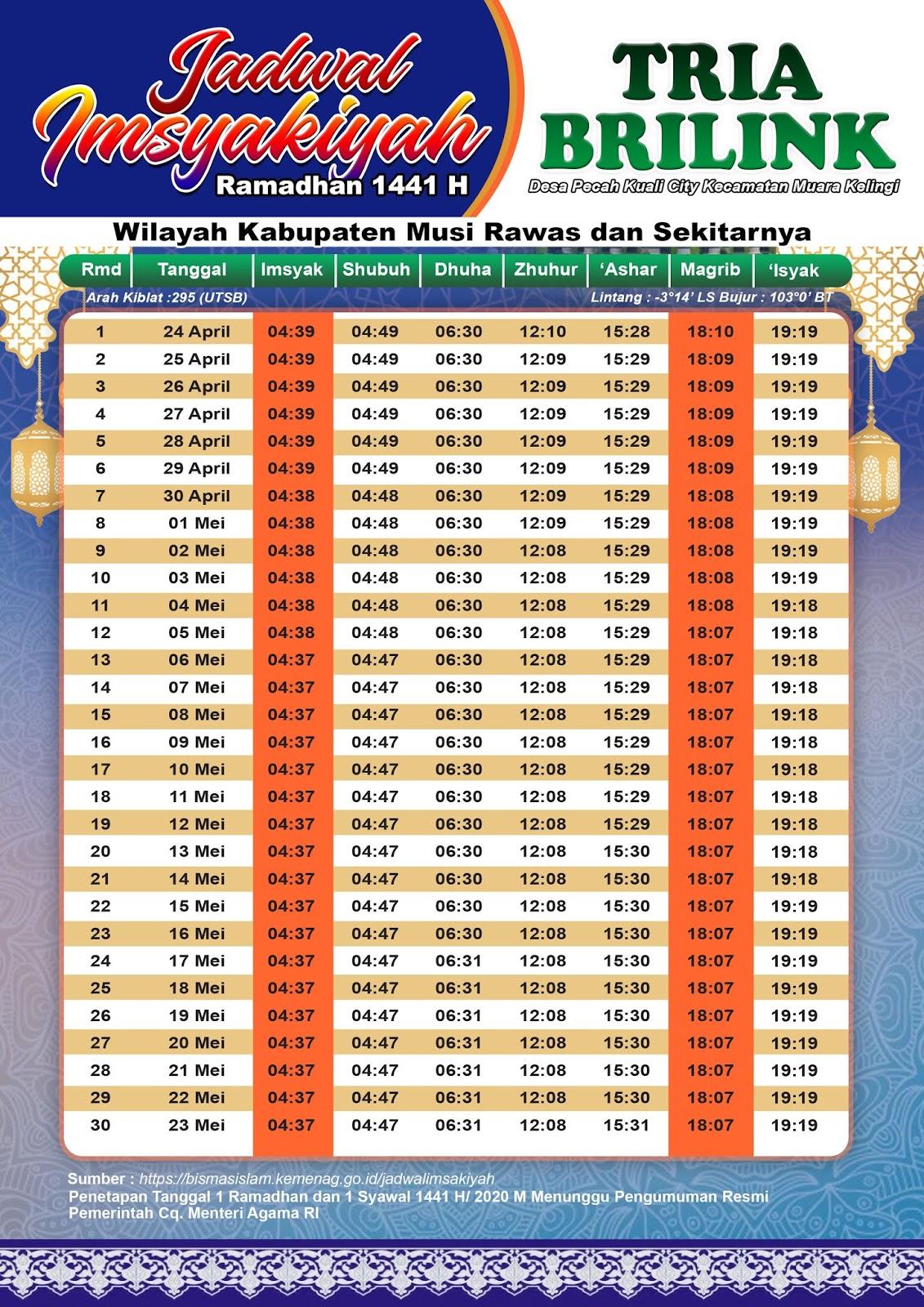 Desain Jadwal imsyakiyah Brinlink