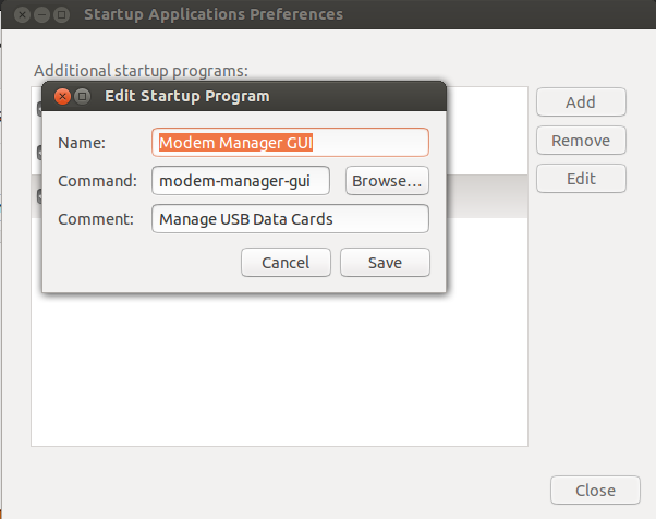 Startup Applications Modem Manager GUI