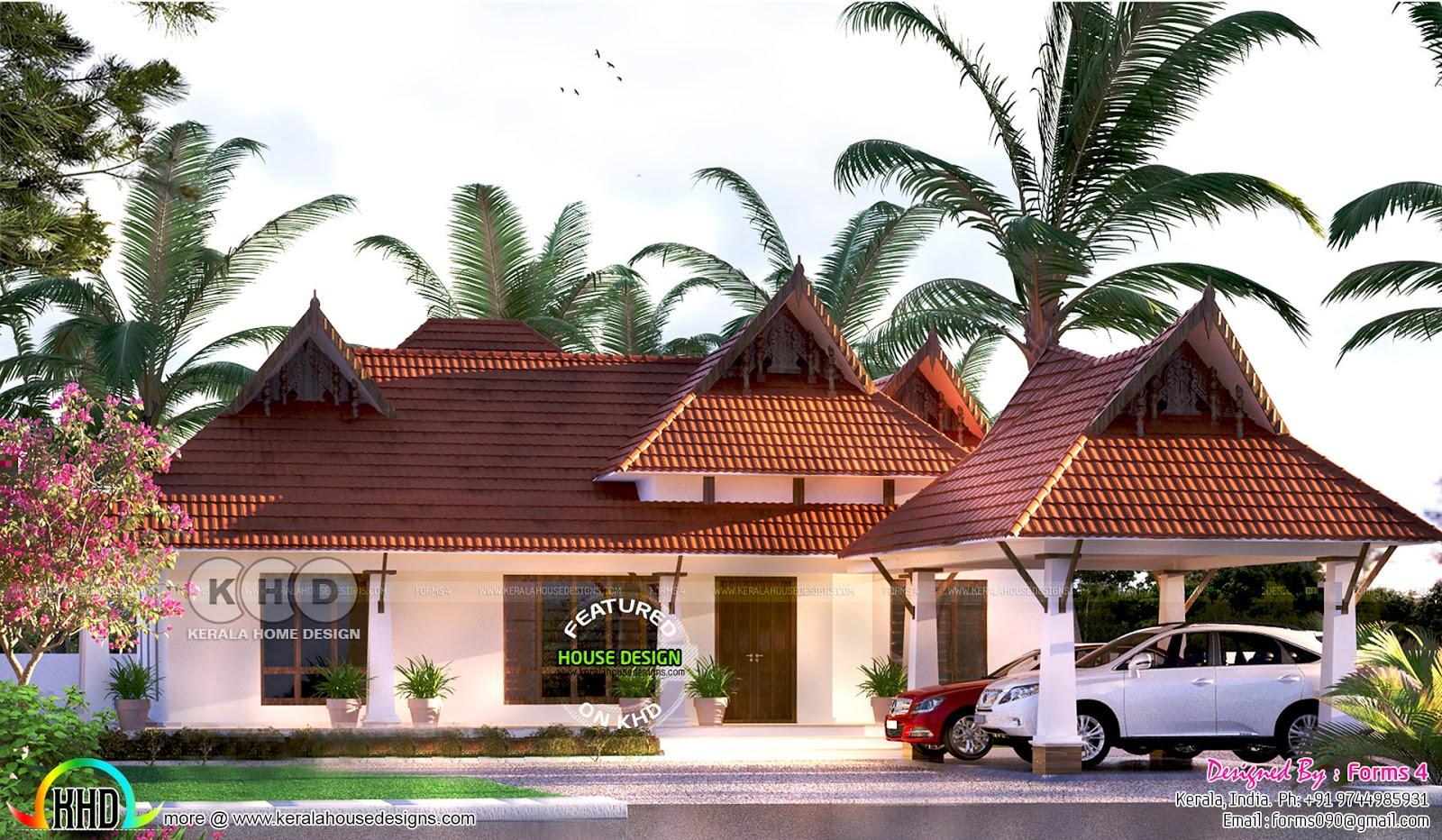Traditional Style Nalukettu Nadumuttam Type Kerala Home