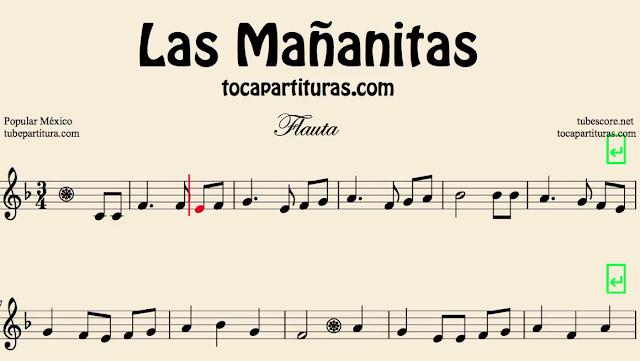 10 Partituras Populares Tradicionales 2º Partituras de Las Mañanitas Sheet Music