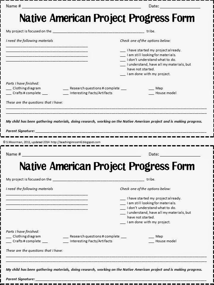 Using a progress form helps students who are working on at home projects stay on task and make sure their work gets done by the deadline.