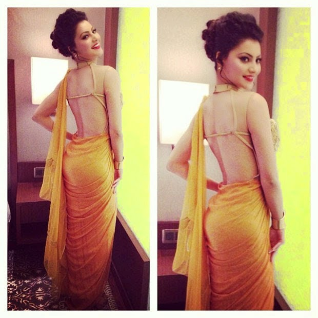Urvashi Rautela Hot sexy Spicy tight backless saree bum HD Images and Wallpapers