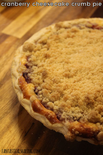 Cranberry Cheesecake Crumb Pie #recipe #dessert #pie #cheesecake #cranberry