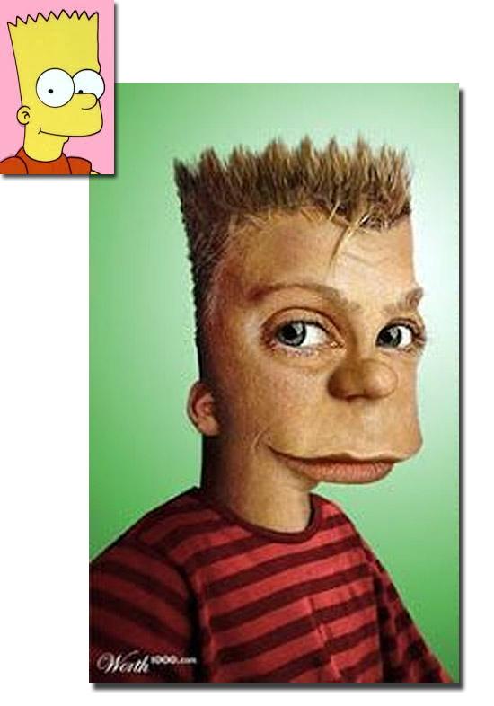 Personagens de desenhos como se fossem de carne e osso - Bart Simpson