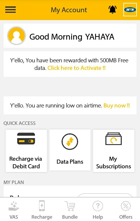 free 500 mb on mymtn app for mtn users