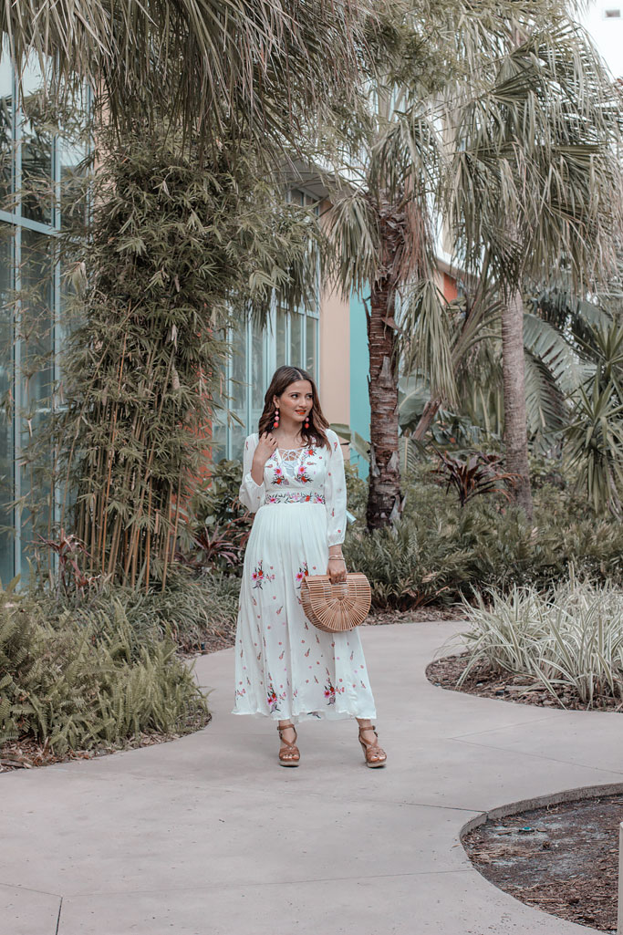 Chicwish Rose Embroidered Maxi Dress Blogger Outfit Cult Gaia Dupe Bag