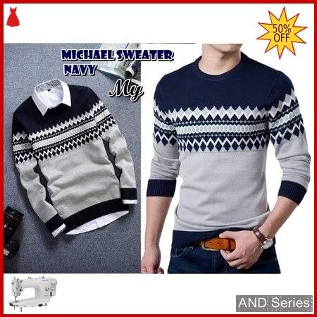 AND173 Sweater Pria Michael Biru Navy BMGShop